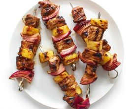 Grilled Pork,Pineapple & Red Onion Kebabs